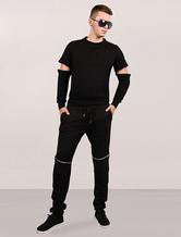 Men Black Sweatshirts Convertible Long Sleeves Cotton Punk Pullover