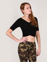 Sweater Crop Top Black Women's Short Sleeves Wrap Elastic High Waistline Top