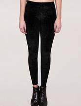 Pantaloni skinny neri elastici leggings velluto per donna