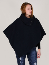 Women Cape Coat Poncho Navy Winter Coat Turtleneck Mentel Cloak