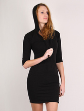 Black Bodycon Dress Women's Hooded Half Sleeves Sheath Dress