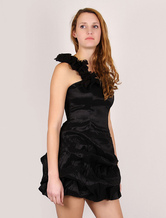Black Cocktail Dress Mini Party Dress One-shoulder Elastic Cocktail Peplum Dress With Bra