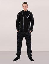Zip Up Hoodie Men Black Jacket Leather Patch Zipper Asymmetric Winter Coat In Assassin's Creed Style