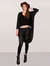 Women Black Cardigan Longline Sweater Wrap Plus Size Batwing Half Sleeves Knitting Cardigan