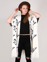Cardigan lungo bianco da donna con mezze maniche e stampa di farfalla