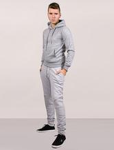 Men Gray Hoodie Fleece Long Sleeve Sweatshirt Pullover