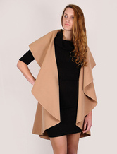 Wool Cape Coat Women Longline Waistcoat Sleeveless Camel Winter Coat