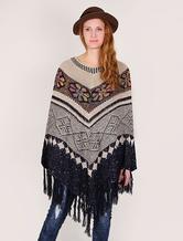 Maglione lana poncho bohemien da donna con frange
