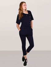 Navy Jumpsuit Back Printed Cotton Short Sleeves Romper Women's One Piece Overall