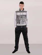 Men Gray Hoodie Long Sleeves Printed Cotton Sweatshirt With Stand Collar