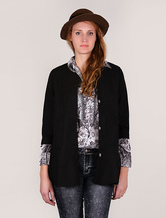 Women Spring Jacket Black Half Sleeves Fit And Flare Coat