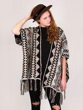Wolle Strickjacke Pullover Damen Plus Größe böhmischen Fransen Cape Wintermantel
