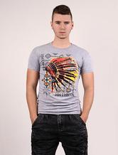 Men's Printed T-shirt Cotton Grey Indian Pattern Short Sleeves Top