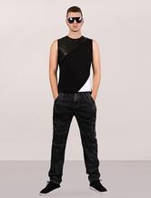 Men's Tank Top Leather Punk Color-block Asymmetric Bottom Cotton Sleeveless T-shirt