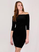 Black Velvet Dress Sheath Bateau Half Sleeves Bodycon Dress (Made In Italy)