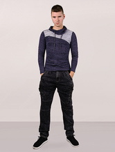 Turtleneck Sweater Men Long Sleeves Color Block Cotton Pullover Sweatshirt