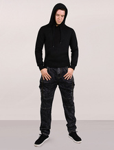 Men Hoodie Black Cotton Fleece Pullover Sweatshirt Long Sleeves With Pockets