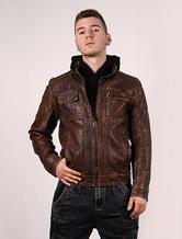 Men's Leather Jacket Brown Vintage Washable Zipper Biker Faux Leather Jacket