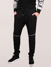 Black Men's Joggers Zipper Punk Elastic Waistband Cotton Knit Leggings Sweat Pants