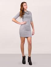 Bodycon robe pull robe féminine manches moitié à Midi Conversible