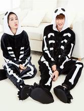 Anime Costumes AF-S2-638255 Kigurumi Pajama Skeleton Onesie Black Flannel Couple Costume