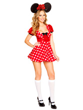 Anime Costumes AF-S2-638307 Halloween Sexy Mickey Mouse Costume Disney Women's Polka Dot Skater Dress Outfit With Headgear
