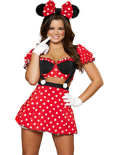 Anime Costumes AF-S2-638269 Sexy Mickey Mouse Minne Costume Red Polka Dot Short Sleeve Crop Top With Mini Skirt & Headpiece & Gloves