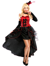 Anime Costumes AF-S2-638323 Sexy Showgirl Costume Halloween Women's High Low 2 Colors Ruffle Bows Long Slip Dress With Arm Cover & Headgear