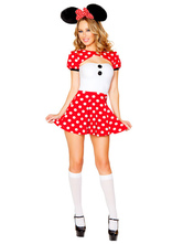 Anime Costumes AF-S2-638303 Sexy Costume Mickey Mouse Halloween Disney Red Polka Dot Strapless Women's Skater Dress With Shrug In 3 Piece