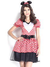 Anime Costumes AF-S2-638291 Halloween Sexy Mickey Mouse Costume Disney Women's Polka Dot Puff Short Sleeve Sweetheart Skater Dress With Headgear