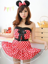 Anime Costumes AF-S2-638285 Sexy Mickey Mouse Costume Multicolor Polka Dot Bowed Strapless Sleeveless Flare Dress With Bowed Headpiece