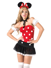 Anime Costumes AF-S2-638309 Halloween Sexy Costume Mickey Mouse Disney Women's Polka Dot Strapless Top With Mini Skirt In 4 Piece