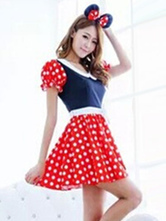 Anime Costumes AF-S2-638295 Halloween Sexy Costume Mickey Mouse Disney Women's Polka Dot Puff Short Sleeve Skater Dress With Headgear