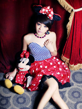Anime Costumes AF-S2-638315 Sexy Mickey Mouse Costume Halloween Women's Red Blue Polka Dot Strapless Dress With Headgear & Necklace