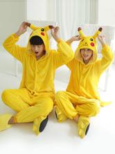 Anime Costumes AF-S2-638247 Kigurumi Pajama Pikachu Onesie Flannel Yellow Animal Sleepwear Couple Costume