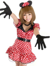Anime Costumes AF-S2-638273 Halloween Sexy Costume Mickey Mouse Minne Red Polka Dot Short Sleeve Slim Fit Mini Skater Dress In 4 Piece Set