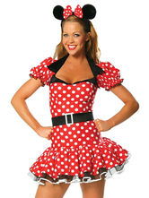 Anime Costumes AF-S2-638311 Sexy Mickey Mouse Costume Disney Halloween Polka Dot Short Sleeve Square Collar Ruffle Dress With Sash For Women In 3 Piece