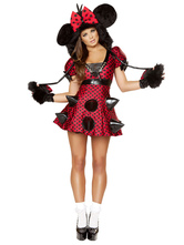 Anime Costumes AF-S2-638293 Sexy Mickey Mouse Costume Halloween Disney Spike Red Polka Dot Women's Skater Dress With Faux Fur Gloves