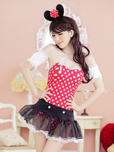 Anime Costumes AF-S2-638297 Sexy Mickey Mouse Costume Disney Halloween Red Polka Dot Women's Strapless Bodysuit With Mini Sheer Skirt Outfit Set In 4 Piece