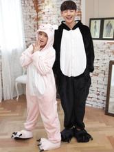 Anime Costumes AF-S2-638233 Kigurumi Pajama Pig Onsie Flannel Black And Pink Couple Costume