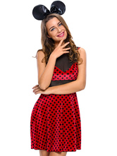 Anime Costumes AF-S2-638289 Sexy Mickey Mouse Minnie Costume Red Polka Dot Sleeveless Slim Fit Dress With Black Headgear