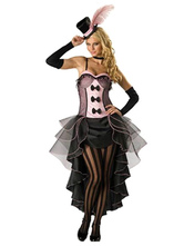 Anime Costumes AF-S2-638327 Sexy Showgirl Costume Halloween Women's Black High Low Tiered Slip Dress With Arm Cover