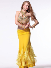 Anime Costumes AF-S2-638803 Belly Dance Costume Women's Gold Sequined Bollywood Dance Top With Tassels