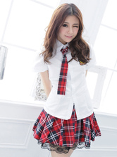 Anime Costumes AF-S2-638755 Sexy School Girl Costume Nerd Women's Flared Mini Skirt With White Shirt Set In 3 Piece