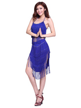 Anime Costumes AF-S2-638807 Blue Dance Costume Women's Latin Dancing Outfit Set Split Tassel Skirt With Camis