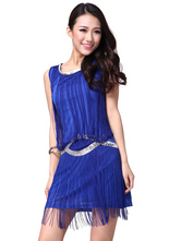 Anime Costumes AF-S2-638809 Latin Dance Costume Blue Women's Bodycon Dress With Tassels