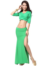 Anime Costumes AF-S2-638801 Belly Dance Costume Women's Green Bodycon Split Long Skirt With Bollywood Dance Crop Top