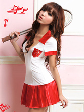 Anime Costumes AF-S2-638749 Sexy School Girl Costume Women's V-neck Ruched Bodycon Dress