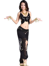 Anime Costumes AF-S2-638805 Belly Dance Costume Outfit Women's Black Tulle Glitter Bollywood Dance Pants With Camis