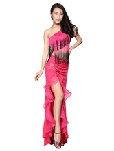 Anime Costumes AF-S2-638781 Latin Dance Costume Outfit Women's One Shoulder Ballroom Dance Tassels Top With Split Long Skirt In Rose Red